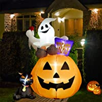 SUPERJARE 6 Ft Inflatable Lantern Ghost Cat Halloween Decoration with LED Light