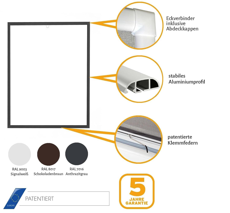 Insektenschutz f/ür Fenster Basic mit Alurahmen in Wei/ß Braun oder Anthrazit und Fiberglas-Gewebe in Schwarz Fliegengitter in verschiedenen Gr/ö/ßen ausw/ählbar Bausatz zu Selbstmontage