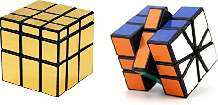 Emob Magic Rubik Gold Mirror and Square - 1 Cube Combo Puzzle Cube Brainstorming Game Toy with Black Base and Neon Color (Muticolor)