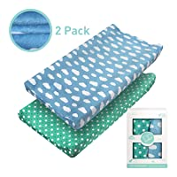 Changing Pad Covers - Babebay Ultra Soft Short Velvet Changing Table Cover Breathable Wipeable Changing Pad Covers Suit for Baby Boy and Baby Girl (2 Pack)