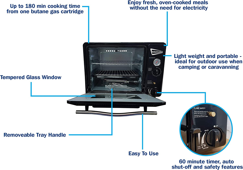 MP Essential - Horno de Gas butano portátil para Camping, Caravana y hogar, 30 L, Color Negro