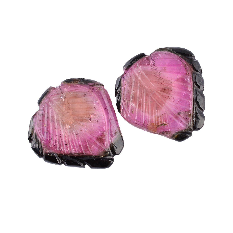 Be You Multicolour Natural Brazil Tourmaline Fine Quality 17x16x2.5mm Leaf Shape 2 pcs Loose Gemstone