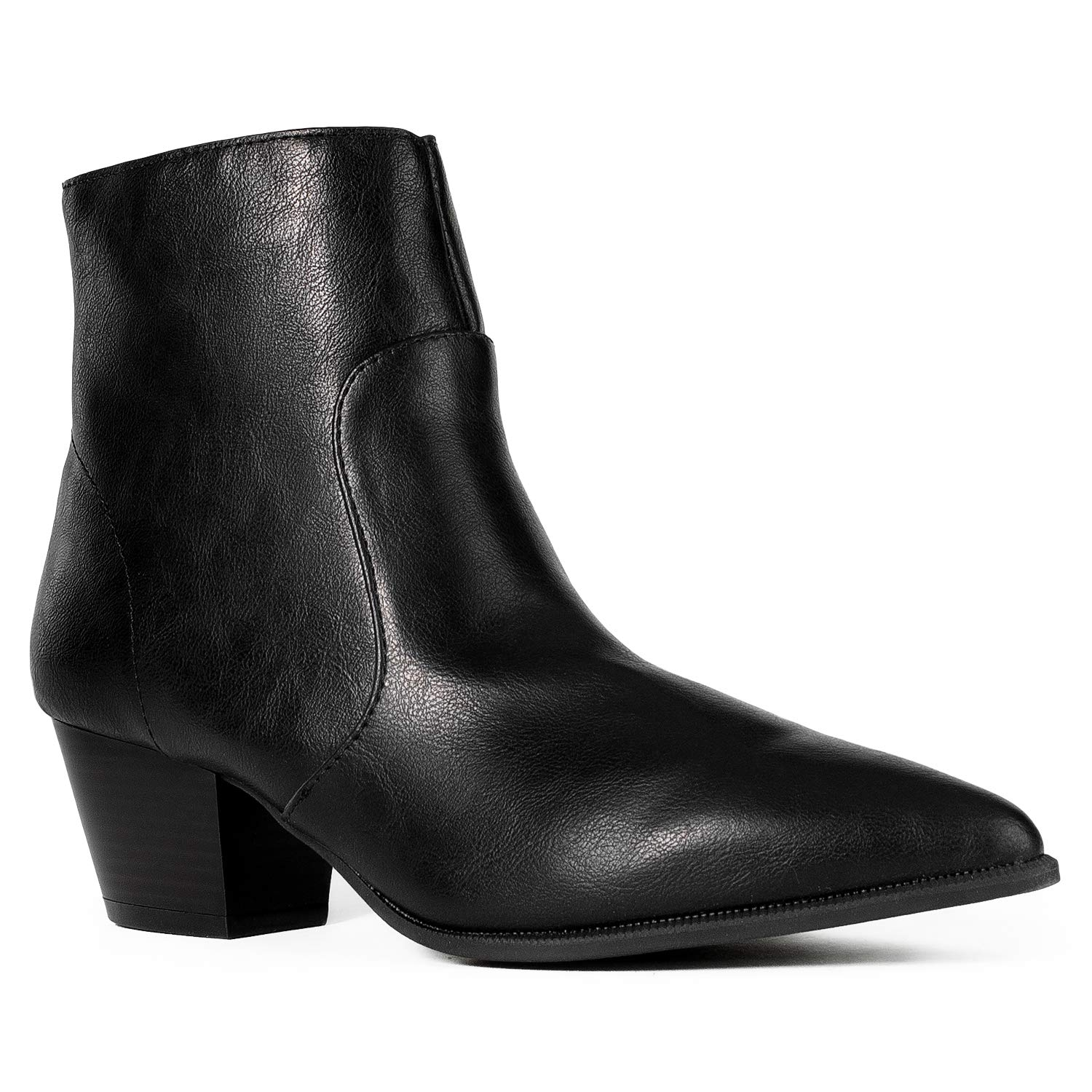 Black Pu RF ROOM OF FASHION Women's Western Pointy Toe Low Chunky Heel Back Zip Slim Fit Ankle Booties