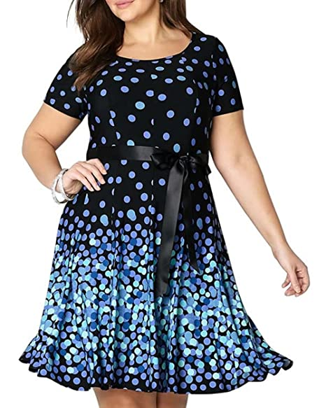 3d422b39cfd33 COCOEPPS Women's Plus Size Casual Polka Dot Dress Large Size Elegant Knee  Length Party Dress with Belt