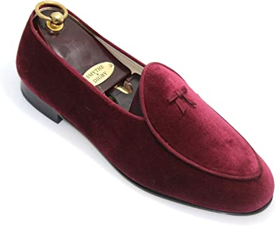 SMYTHE /& DIGBY Mens Albert Slipper Leather Velvet Loafer Burgundy