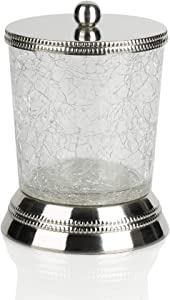 nu steel REG1H Regal Collection Qtip Holder, Bathroom Vanity Storage Organiser, Canister, Apothecary Jar for Cotton Swabs, Rounds, Balls, Metal with Crackle Glass Finish