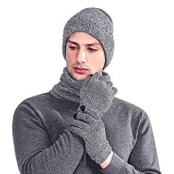 2d13cd8fb01 3PC Men s Winter Set Clearance- Iuhan 3 Pieces Knitted Hat Set Winter Thick  Warm Snug