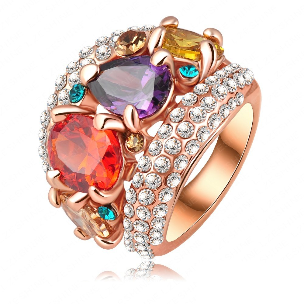 Evertrust (TM)New Arrival Noble Multicolor Zircon Engagement Rings With 18K Gold Plate & Crystals Wedding Jewelry Ri-HQ0152