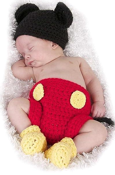 Autek Fotografie Prop Baby Kostüm Süss Crochet Häkeln Strickmütze Hut Cap Mädchen Jungen Windel Schuhe Maus