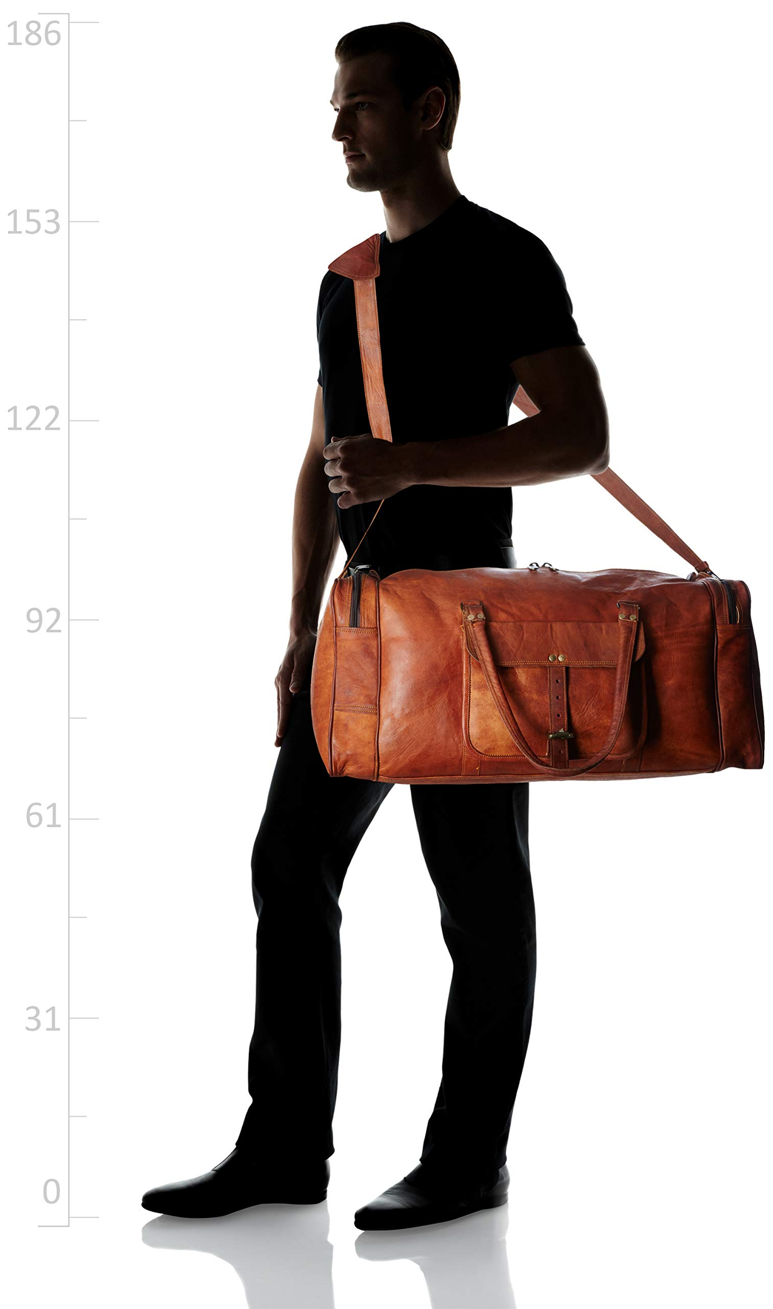 Leather 24 Inch Square Duffel Travel Gym Sports Overnight Weekend Leather Bag by Ruzioon (Image #6)