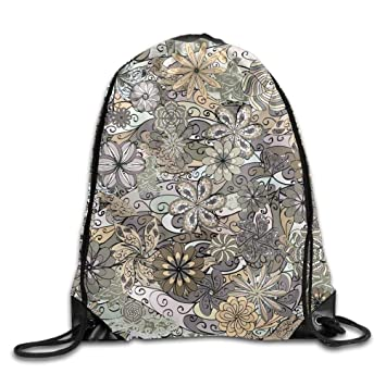 e9edd69a51cd Amazon.com  Drawstring Bags Gym Bag Travel Backpack Floral Pattern ...