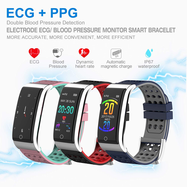 ISWIM Pulsera de Actividad Inteligente ECG&PPG Pantalla a Color Impermeable IP67 Pulsómetro con Monitor de Ritmo Cardíaco Monitor de Actividad ...