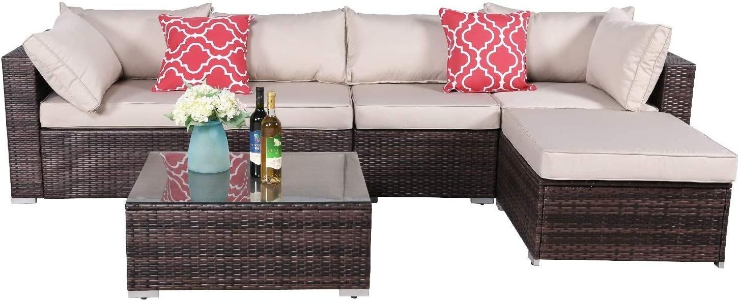 OAKVILLE FURNITURE 61116 6-Piece Made in USA Outdoor Sectional Sofa Rattan Patio Furniture Sets Brown Wicker, Beige Cushion