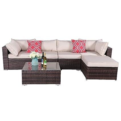 Amazon.com: OAKVILLE FURNITURE Juego de 6 piezas de sofá ...