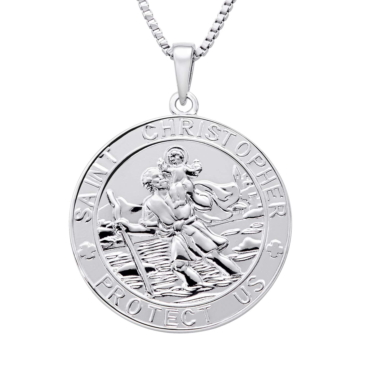aaab9d3e1fa Farjary Jewelry 925 Silver Medium St. Christopher Round Coin Pendant With  18 Inch Necklace For Her Him: Amazon.co.uk: Jewellery