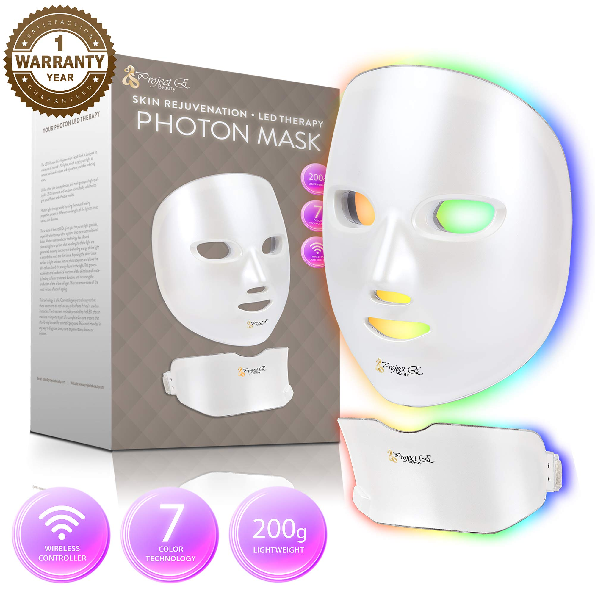Project E Beauty 7 Colors LED Mask Face & Neck Photon Light Therapy For Skin Rejuvenation, Collagen, Wrinkle, Facial Skin Care Wireless Mask (Face and Neck)