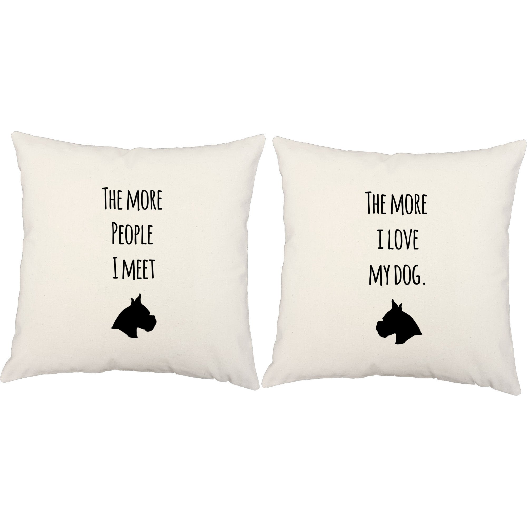 Set of 2 RoomCraft I Love My Dog Throw Pillows 20x20 Inch Square White Outdoor Cushions