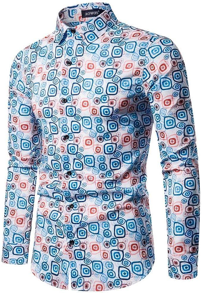 NPRADLA - Camisa de Manga Larga para Hombre, Estilo Vintage ...