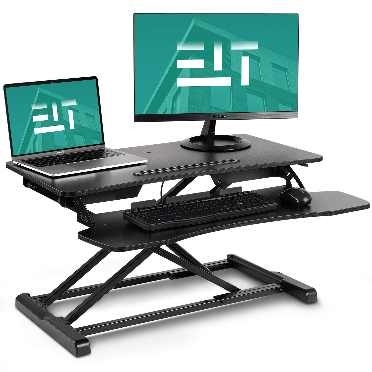 EleTab Standing Desk Converter Sit Stand Desk Riser Stand up Desk Tabletop Workstation fits Dual Monitor 32 inches Black by EleTab