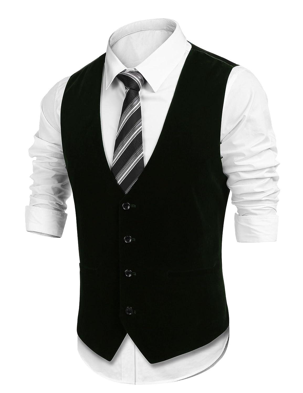 Lamore Coofandy Mens Formal Waistcoat Velvet Slim Fit Vests