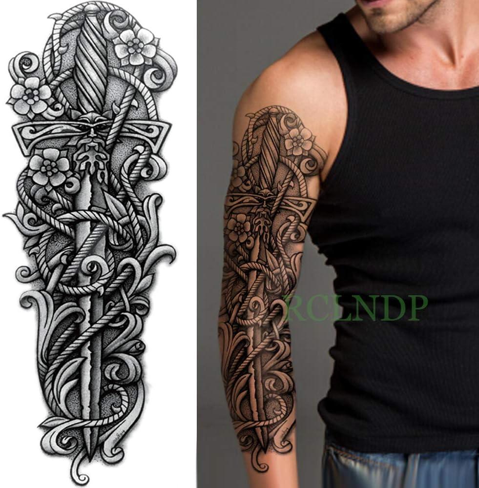 tzxdbh 3pcs-Impermeable de la Etiqueta engomada del Tatuaje Temporal del ala del ángulo Lobo Transversal Completa del Brazo Tatuajes Tatuajes de la Manga Tatoo para Hombres Mujeres 3Pcs: Amazon.es: Hogar