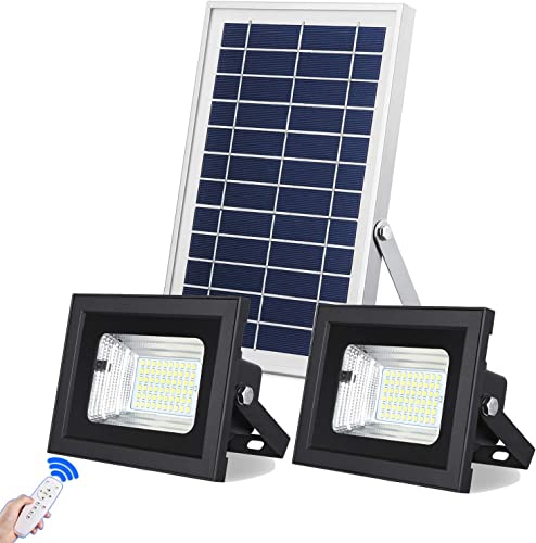 Solar Flood Lights Outdoor Indoor Dusk to Dawn Uponun Dual Head 60LED IP67 Waterproof Smart Remote Control Solar Powered Security Light for Yard Path Pool Patio Shed Sign Barn Garden Garage Driveway