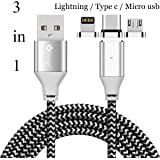 ACALI 3 in 1 Magnetic Lighting Type C Micro USB Cable Charging and Data Transmission Sync Cord for iPhone X 8 7 7 plus/ 6 6s Plus/iPad Samsung Galaxy S6 S7 S8 plus Note 2/3/4/5 Lg V20 Gen2 iOS Android