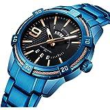 腕時計 メンズ カジュアルなビジネス高品質ステンレス鋼防水ブルーファッションクォーツ時計