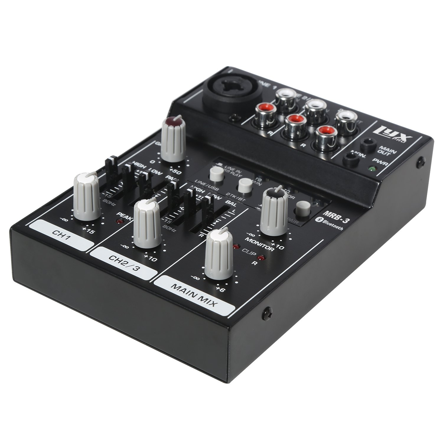 Lyxpro Mrb3 3 Channel Audio Mixer Flexible Compact Three Splitter Personal Pro With Usb Bluetooth Connections Musical Instruments