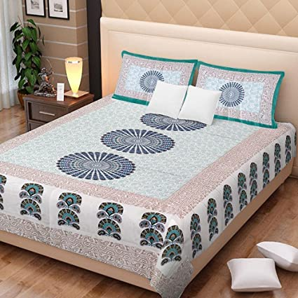 5919a40f268 UniqChoice Printed 100% Cotton Rajasthani Traditional Print King Size Double  Bedsheet With Zipped 2 Pillow Cover(MultiColor…..)  Amazon.in  Home    Kitchen