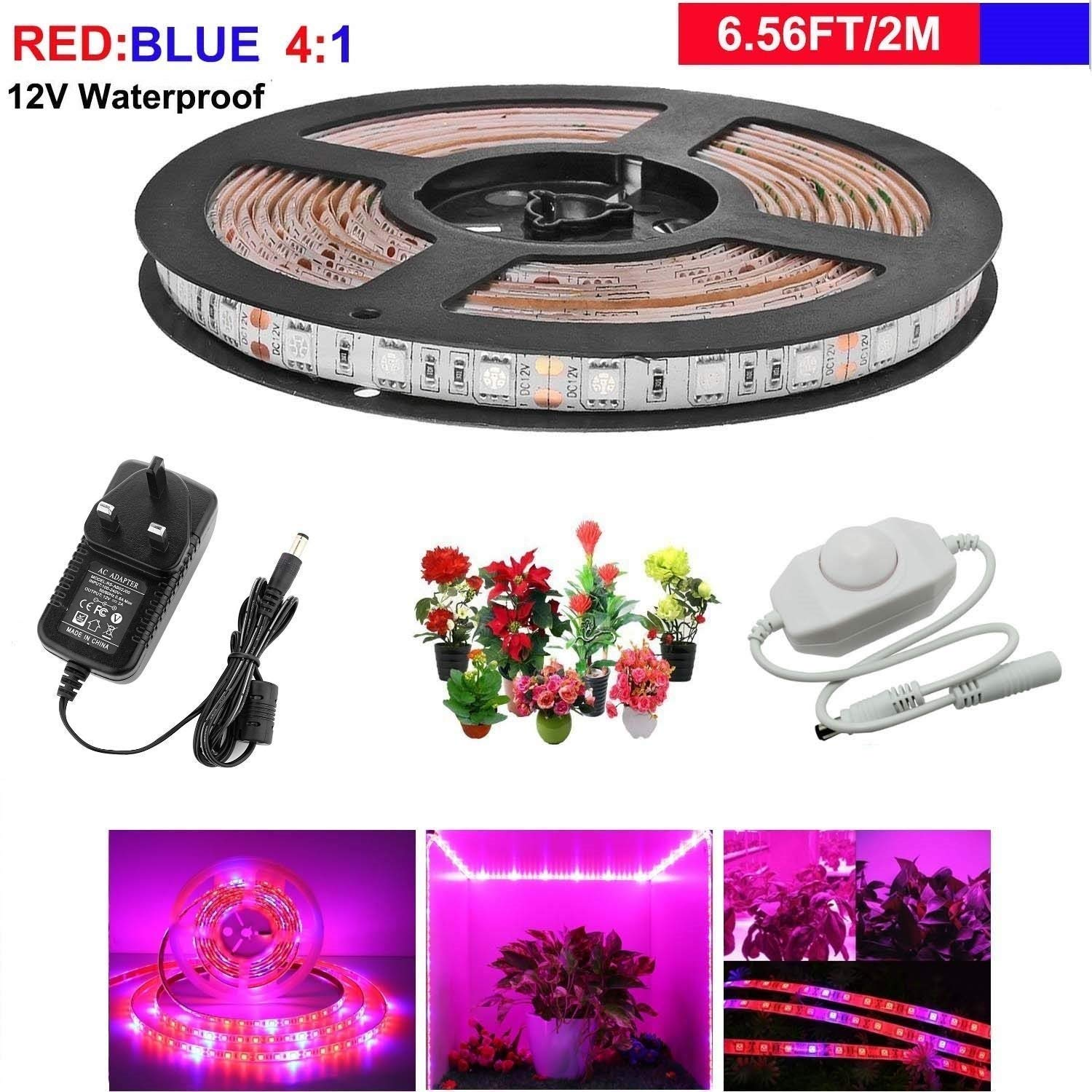 LEHOU Grow Lights, LED Plant Lights Waterproof Grow Strip Light Full Spectrum Rope Lights Red Blue 4:1 for Aquarium Greenhouse Hydroponic Plant, Garden Flowers Veg with 12V/3A Power Adapter