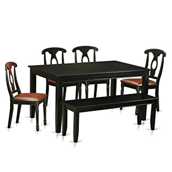 Amazon East West Furniture DUKE6 BLK LC 6 Piece Table and 4