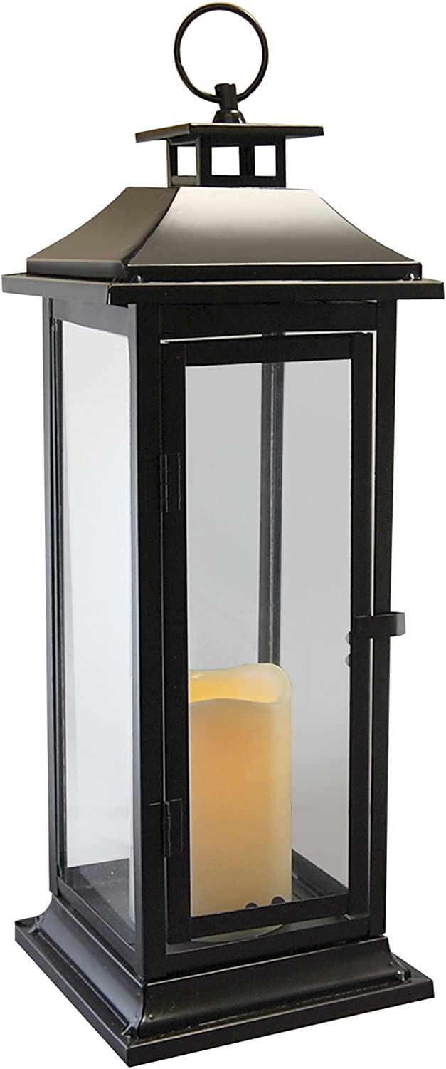 Lumabase 90401 Traditional Metal Lantern with LED Candle, Black : Garden & Outdoor