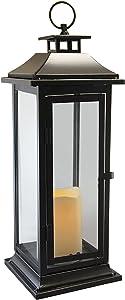 Lumabase 90401 Traditional Metal Lantern with LED Candle, Black