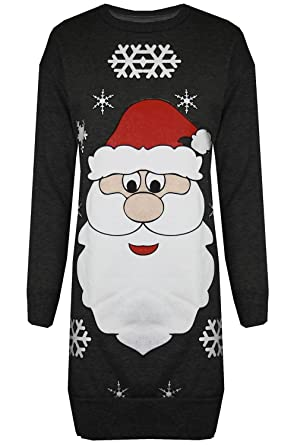 chocolate pickle new santa face red hat christmas jumpers warm fleece ladies sweatshirt tops 8 22 amazon co uk clothing