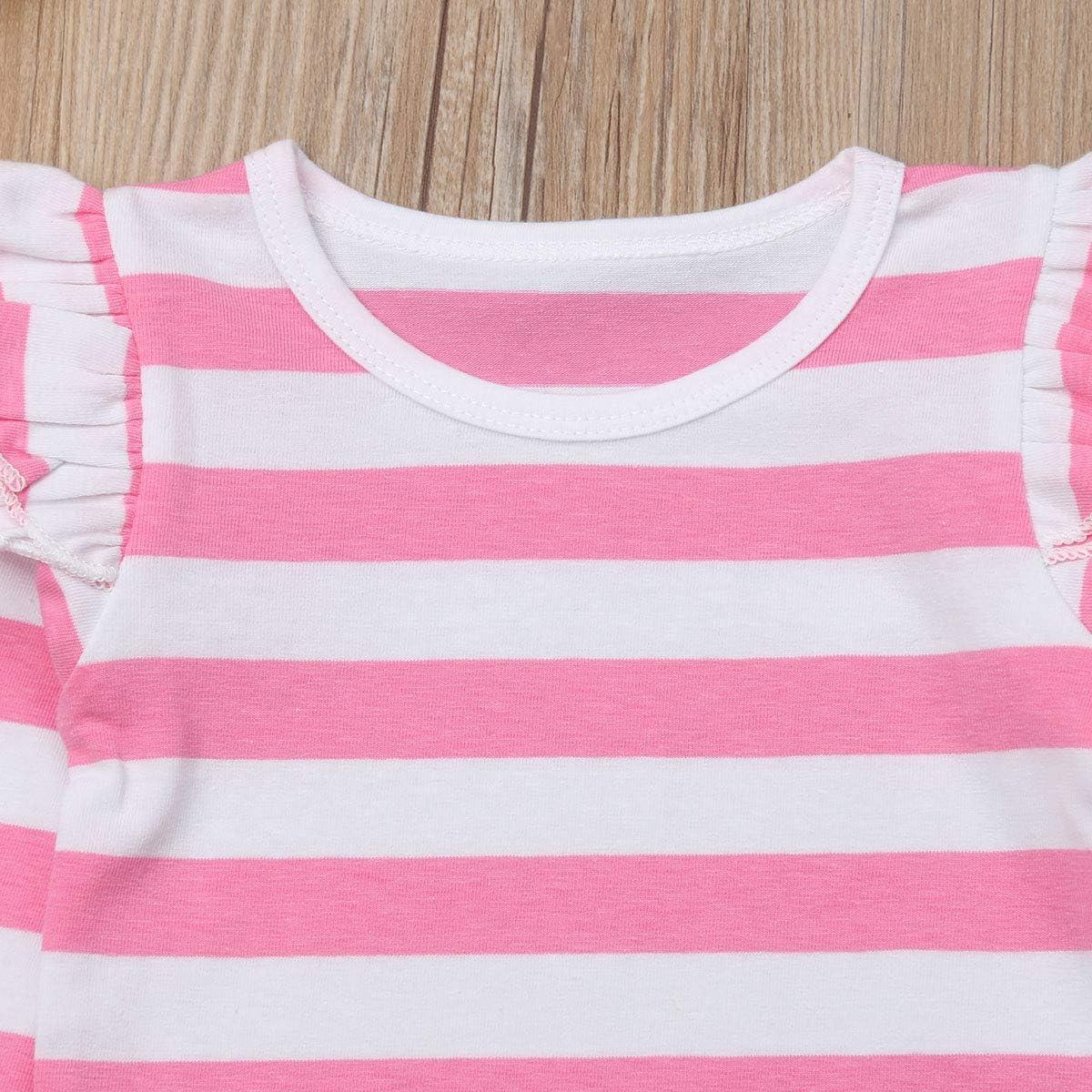 Tutu Suspender Skirt Princess Dress 2 Pcs Clothing Sets Baby Girl Ruffle Long Sleeve Stripe T-Shirt