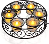 Tea Light Christmas Candle Holders 6 Sets Flower- Hollowed Metal Candlestick for Umbrella Parasol Lights Ideal for Home Garden Party Wedding Table Romantic Dinner Decoration (candles not included)