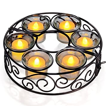 Candle Holders, TOTOBAY Round Black Wrought Iron Table Candlestick  Centerpiece With 6 Votive Glass Cups