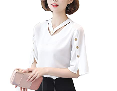 SCGOLD Women V-Neck Tops Ladies Chiffon Blouse Button Short Sleeve White Shirts Summer at Amazon Womens Clothing store: