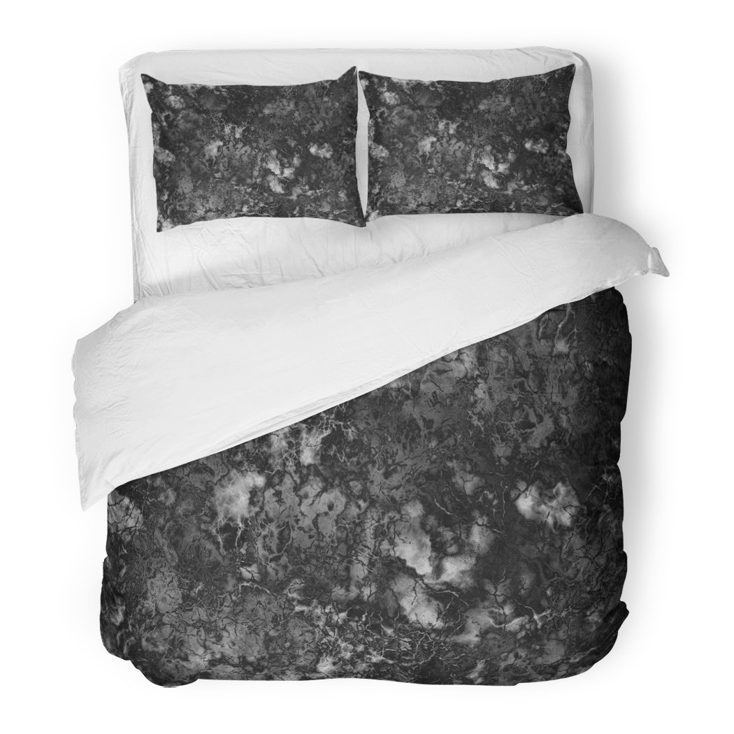 SanChic Duvet Cover Set Gray Granite Marble Black White Rock Polished Wall Abstract Decorative Bedding Set Pillow Sham Twin Size