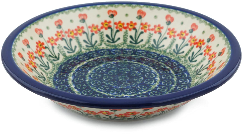 Polish Pottery Pasta Bowl 8-inch made by Ceramika Artystyczna (Blue Poppies)