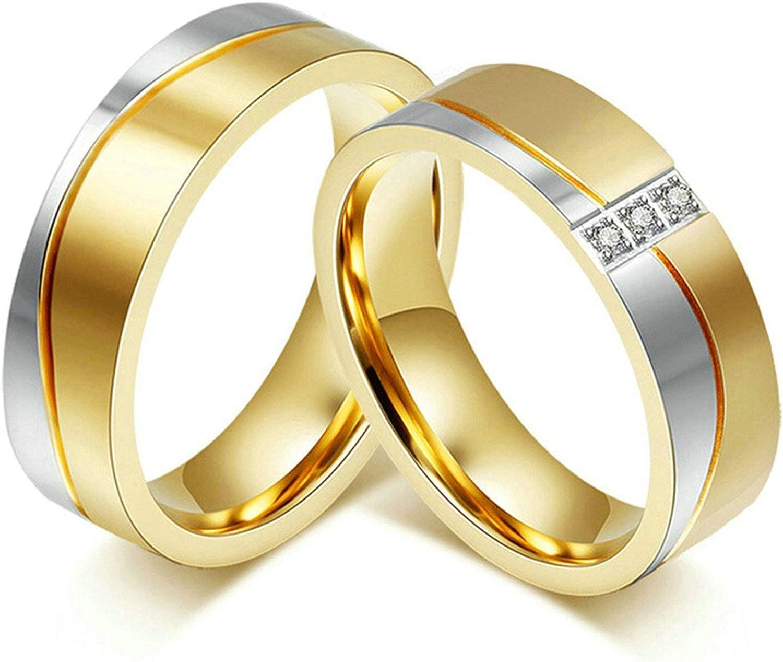 Aimrio 1 Par Anillo Acero Inoxidable Matrimonio para Hombre Mujeres Zirconia Cúbica Micro Pave de 6MM Oro Anillo Compromiso Compromiso Tamaño 12-27