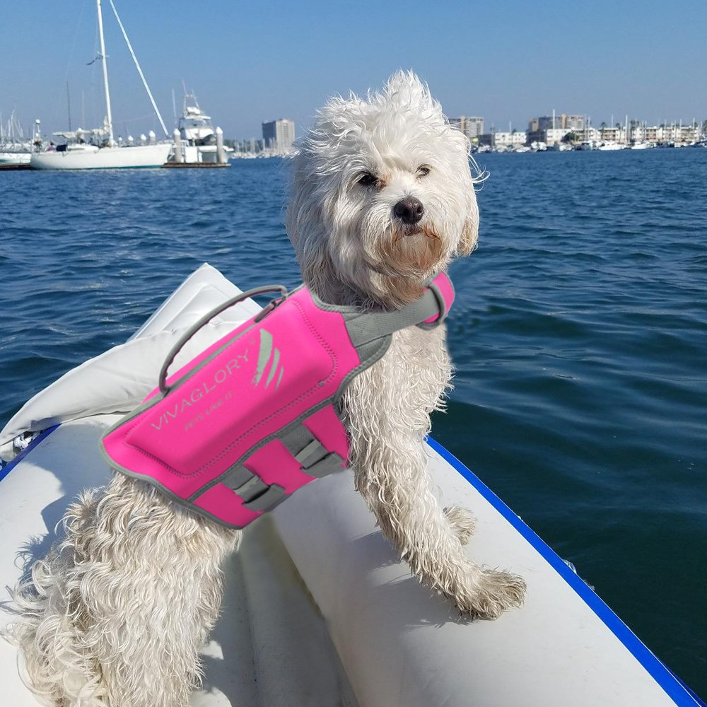 Vivaglory Pet Life Vest, Skin-Friendly Neoprene Dog Safety Vest with Superior Buoyancy and Rescue Handle, Reflective & Adjustable, Pink, Medium by Vivaglory (Image #7)