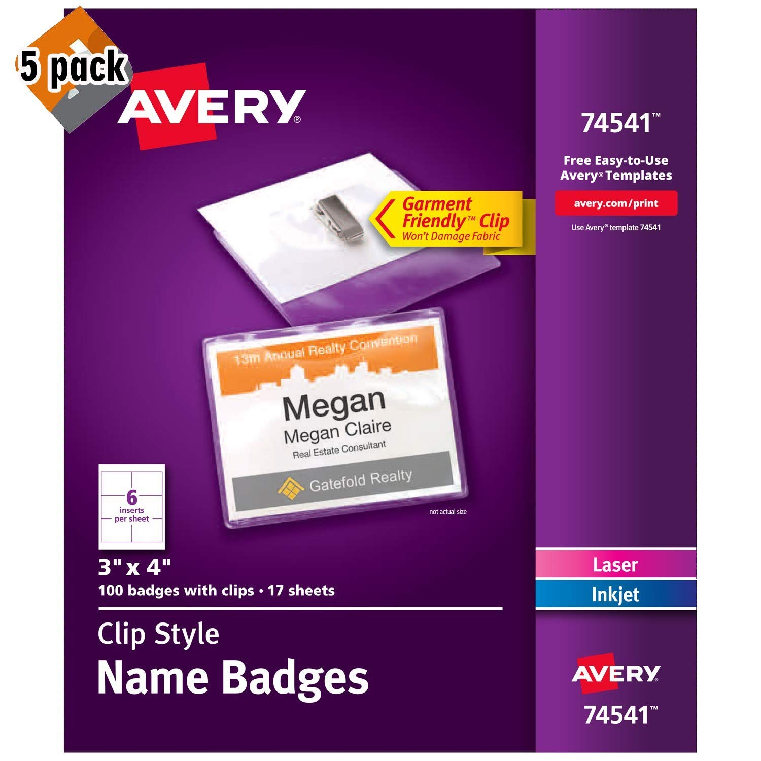 Avery Clip Name Badges, Print or Write, 3'' x 4'', 100 Inserts & Badge Holders with Clips (74541) 5 Pack by AVERY