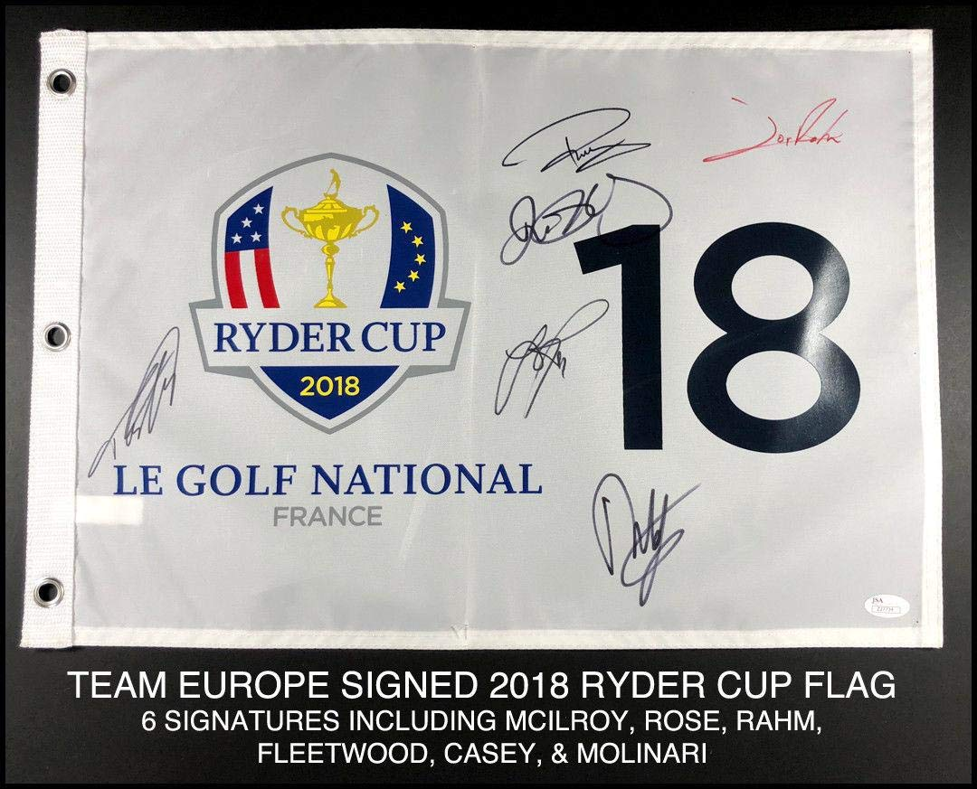 2018 Team Europe Autograph Signed Ryder Cup Field Flag Rory Mcilroy Rose Coa JSA Certified Autographed Pin Flags