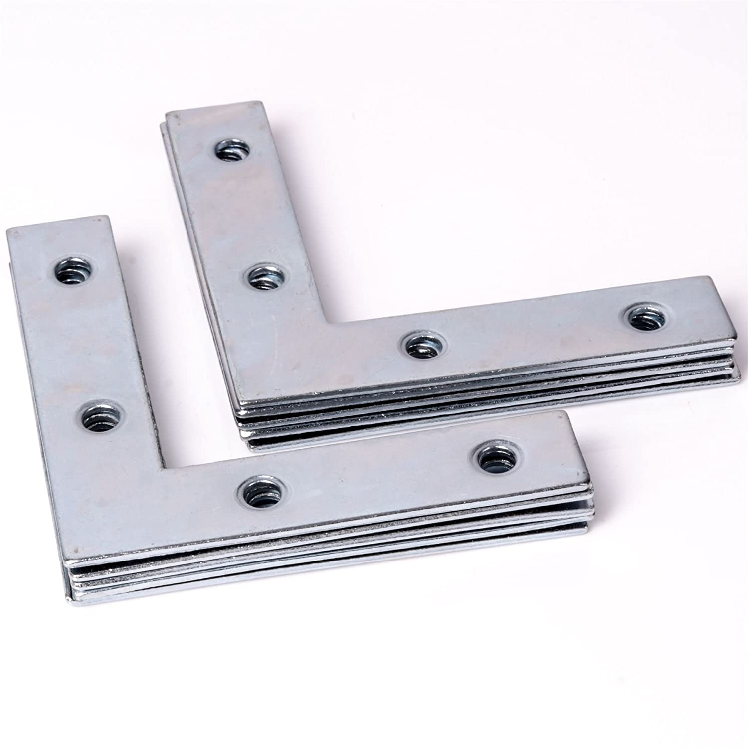 20x Large Right Angle Brackets 75mm Flat Corner Repair Fixing/Joining Brace Plate White Hinge