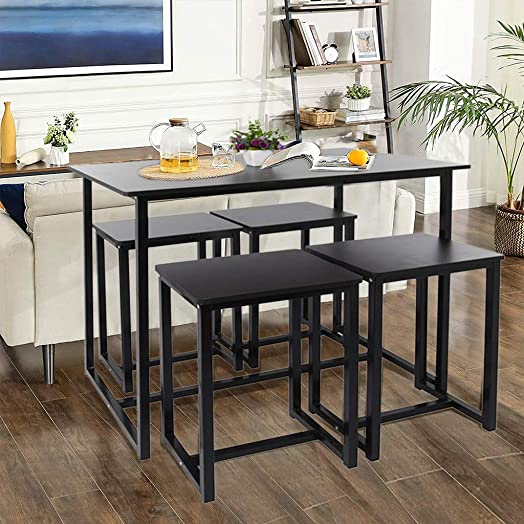 Modern Industrial Table and Chair Set,5-Piece Dining Room Table Set