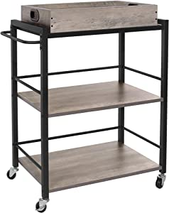 VASAGLE Bar Cart, Kitchen Serving Cart with Removable Tray, 3-Tier Kitchen Utility Cart on Wheels with Storage, Universal Casters with Brakes, Leveling Feet, Greige and Black ULRC072B02