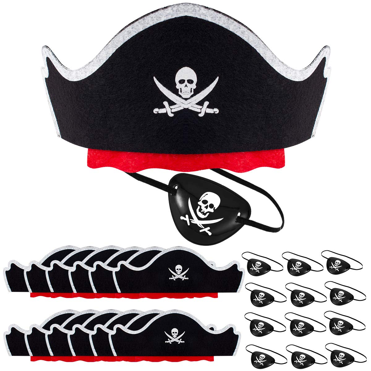 Alphatool 24 Pcs Skull Print Pirate Hats Eye Patches Set, 12 Pieces Caribbean Pirate Captain Hat& 12 Pieces Black Pirate Eye Mask for Pirate Party, Cosplay, Dress Up Theme Party, Halloween Decorations by Alphatool