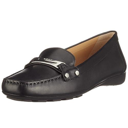 Geox D0142W - Mocasines de cuero para mujer, color negro, talla 37: Amazon.es: Zapatos y complementos